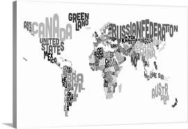 world map with country names country names world map black and white wall canvas prints