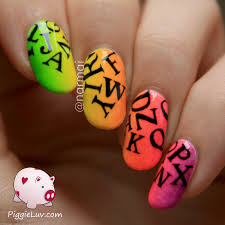 piggieluv neon letter rain nail art glow in the dark video
