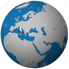 Italy On Map Italy Territory With Flag On Map Of Globe Stock Photo Picture And