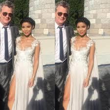 appliques watteau train high slit chiffon prom dresses 2017