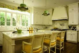 recent white kitchen cabinets and walls in yellow and green colors