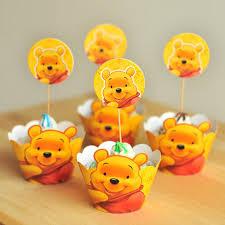 aliexpress com buy 24pcs cartoon winnie the pooh cupcake