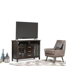 simpli home kitchener dark walnut brown storage entertainment