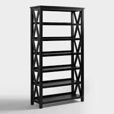 Bookcase With Doors Black Antique Black Verona Six Shelf Bookcase World Market