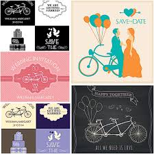 wedding vector card set with retro bicycles free download