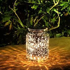 Outdoor Light Decorations Voona 2 Pack Solar Mercury Glass Jar Hanging Outdoor