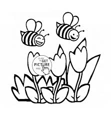 flowers and funny bees coloring page for kids flower coloring