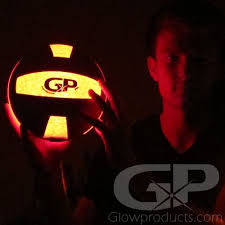 glow lights light up led glowing volleyballs glowproducts