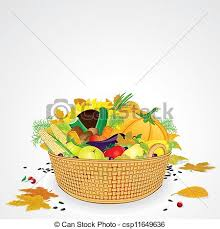 vectors of thanksgiving basket with vegetables and fruits