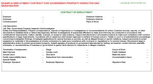 government property inspector and investigator employment contract