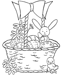 easter basket coloring pages easter basket with bunnies and
