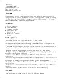 Resume Examples For Managers by Professional Claims Manager Templates To Showcase Your Talent