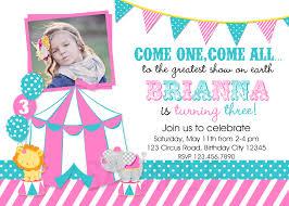 theme invitations printable birthday party invitations circus carnival theme