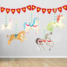 amazon com carousel wall decal set by chromantics home kitchen