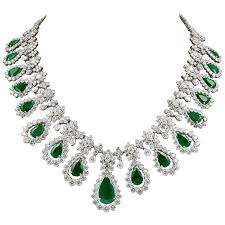 diamond emerald necklace images Two tone diamond emerald necklace for sale at 1stdibs jpg