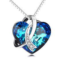 blue heart necklace images Women 39 s sterling silver blue heart of the ocean necklace jpg