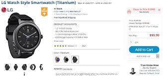 deal alert lg watch style is only 99 99 150 off at b u0026h