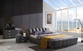 interior king size grey modern leather captain u0027s bed stained