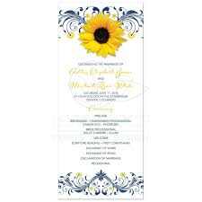 wedding program sunflower navy blue wedding program navy blue yellow floral