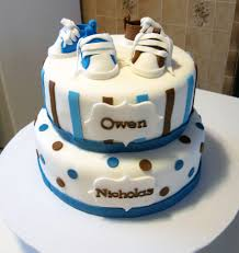 baby shower cake for twin boys with fondant shoes party cakes