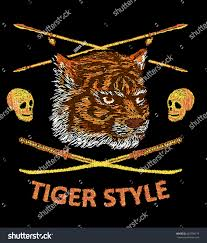tiger embroidery design japanese style bomber stock vector