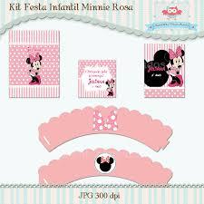 Super Badaboom Personalizados: Kit Festa Infantil Minnie Rosa #BG96