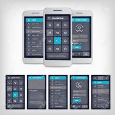 vector set of modern flat design template mobile user interface
