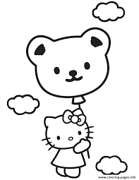hello kitty in sky with teddy bear balloon coloring pages printable