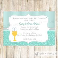 communion invitation holy communion invitation chalice turquoise pink the cat