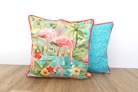 coral flamingo outdoor pillow covers set of two 15x15