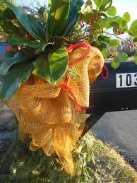 Christmas Mailbox Decoration Ideas Gold Deco Mesh Red Ribbon And Lots Of Greenery Christmas