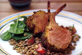 chermoula lamb racks with lentil salad