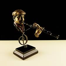 quality abstract flute player musician bust sculpture resin