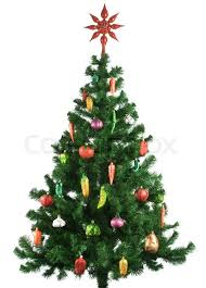 Decorated Christmas Tree Sale by Decorated Christmas Tree Isolated On White Background Stock