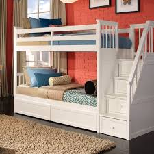 Schoolhouse Collection TwinTwin Stair Bunk Bed In White - Ne kids bunk beds