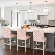 island stools kitchen gray kitchen island with pink counter stools design ideas