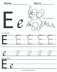 letter e worksheets for preschool kindergarten printable