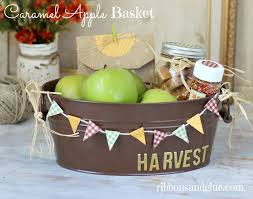 fall gift basket ideas fall caramel apple basket