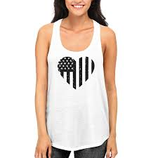 Black And White American Flag Black And White Heart American Flag Tanktop For July 4th Women U0027s