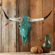 Texas Longhorn Home Decor Turquoise Stone Steer Skull