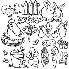 cartoon farm animals vegetables fruits and decoration elements