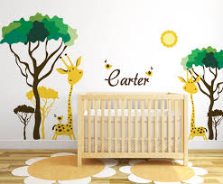 baby nursery ideas safari giraffe and birds decals for walls zoom