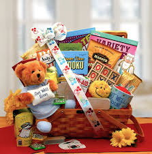 get well soon gift basket get well soon gift with puzzle books teddy more