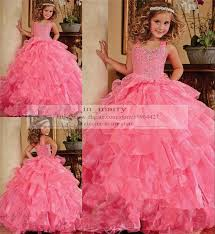 pink puffy girls pageant dresses 2015 ball gown crystal sequins