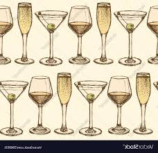cocktail sketch best sketch martini champagne and wine glass in vintage vector design