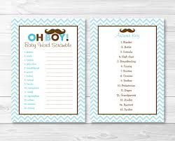 Free Printable Halloween Word Scramble by Mustache Oh Boy Baby Word Scramble Baby Shower Game