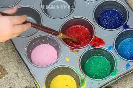 rainbow glitter sidewalk paint recipe the imagination tree