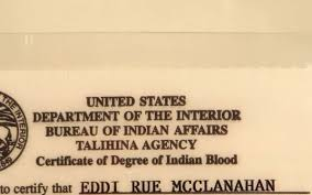 united states department of interior bureau of indian affairs rue s government issued indian blood id card sold the estate