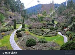 winter look sunken garden landscaping inside stock photo 36780343
