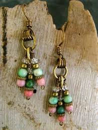 Black Bead Earrings Bronze Chandelier Handmade Boho Ethnic Hippy Brown Turquoise Beads Wooden Chandelier